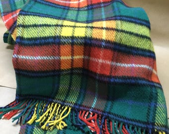 Seafield Wool Blanket--Made in Scotland--Pure New Wool--72 x 54--Plaid Wool Throw with Fringe