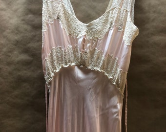 Pink Lace Satin Nightgown--Small or Medium-- 1940s Hand Made Exquisite Starlet Lingerie