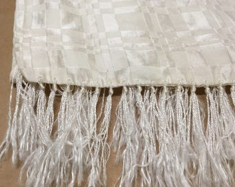 Opera Scarf-- Creamy White Double Sided Evening Ascot with Fringe--Geometric Print