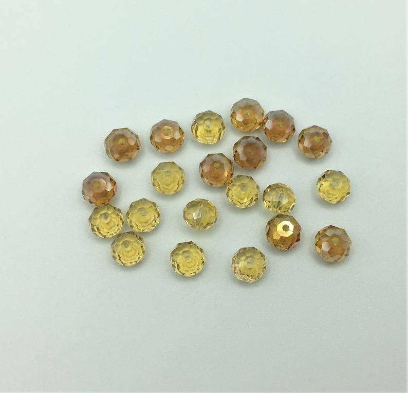 21 No Faceted Glass Rondelle Beads 8mm Diameter Vintage Yellow Faceted Rondelles Vintage Faceted Yellow /& Orange Glass Rondelle Beads