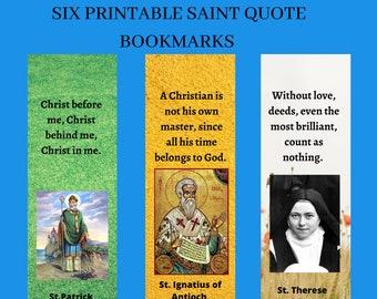 Six Printable Saints Bookmarks Digital Files, Digital Printable Saints Bookmarks, Six Saint Bookmarks