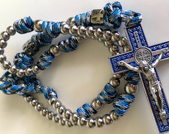 Paracord Rosary Blue Variegated, Catholic Paracord Rosary, Blue Paracord Rosary