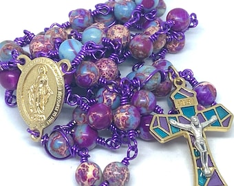 Unbreakable Heirloom Catholic Rosary Purple Jasper Sea Sediment Beads, Unbreakable Purple Jasper Rosary With 8 mm Beads