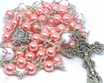 Unbreakable Catholic Breast Cancer Awareness and Pink Pearl Rosary, Pink Unbreakable Catholic Breast Cancer Awareness Rosary