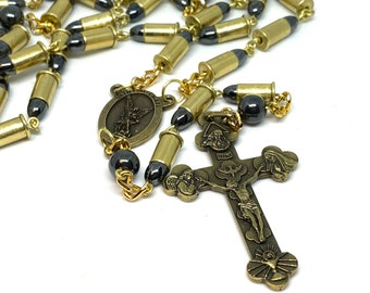 Bullet Rosary with St. Michael Center and Trinity Crucifix with a Complimentary Case
