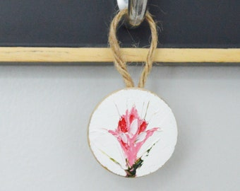 Flower Ornament, Flower Art, Mini Painting, Christmas Ornament, Home Decor