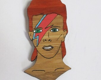 David Bowie - Aladdin Sane Lightning Bolt - Portrait Bamboo Brooch