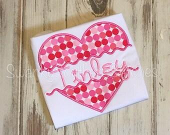 Valentines Heart Monogram or Name Applique Shirt