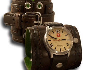Dark Brown Drake Leather Cuff Watch with Stainless 42mm Sapphire Watch