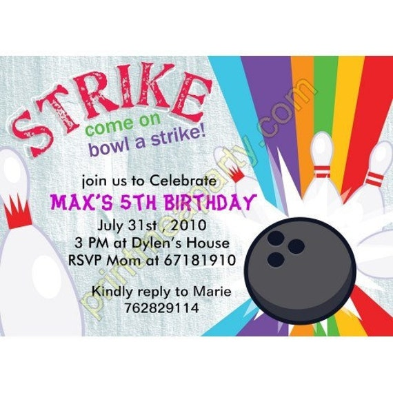 lucky strike bowling invitation girl bowling invitation etsy