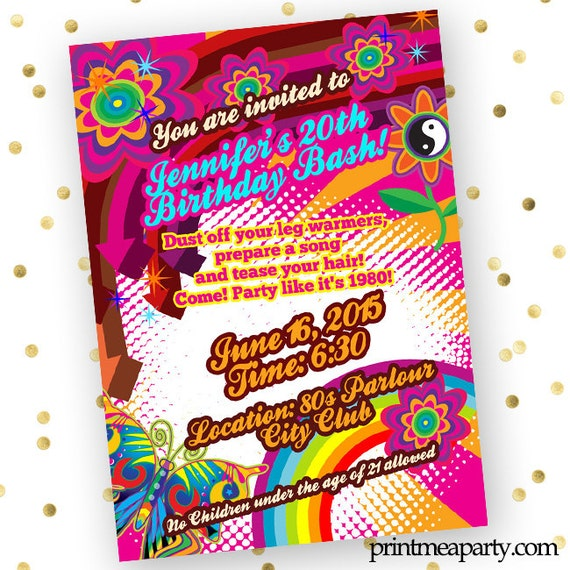 Back To The 80S Birthday Party Invitations Themed Glow Adult