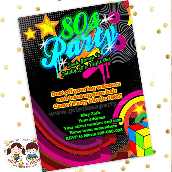 Totally 80's Bling And Neon Birthday Party Invitation