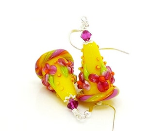 Yellow Earrings, Floral Earrings, Colorful Earrings, Lampwork Earrings, Bright Earrings, Glass Bead Earrings, Cone Earrings, Dangle Earrings