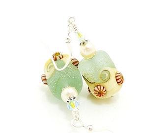 Aqua Blue Beach Earrings, Seashell Earrings, Sea Glass Earrings, Beach Jewelry, Lampwork Earrings, Glass Bead Earrings, Bead Earrings