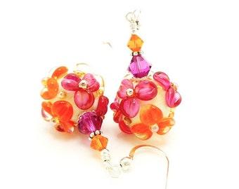 Hot Pink Orange Floral Earrings, Flower Earrings, Lampwork Earrings, Glass Bead Earrings, Glass Earrings, Bright Earrings, Colorful Earrings