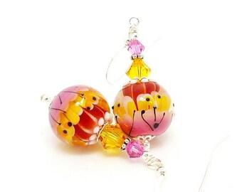 Pink Yellow Geometric Earrings, Bright Earrings. Colorful Earrings, Lampwork Earrings, Glass Earrings, Glass Bead Earrings, Bead Earrings