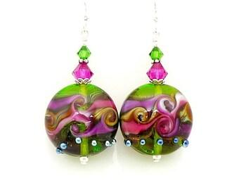 Hot Pink Purple Earrings, Lampwork Earrings, Glass Earrings, Glass Bead Earrings, Lampwork Jewelry, Bead Earrings, Colorful Earrings