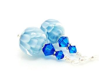 Blue Earrings, Lampwork Earrings, Glass Earrings, Glass Bead Earrings, Lotus Flower Earrings, Unique Earrings, Unusual Earrings
