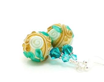 Teal Blue Earrings, Floral Earrings, Lampwork Earrings, Glass Earrings, Flower Earrings, Unique Earrings, Glass Bead Earrings