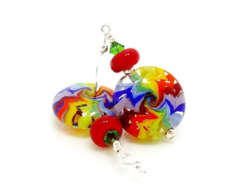 Rainbow Earrings, Bright Earrings, Colorful Earrings, Lampwork Earrings, Glass Earrings, Retro Earrings, Fun Earrings, Lampwork Glass