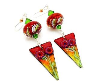 Red Enamel Earrings, Mixed Metal Earrings, Metalwork Earrings, Copper Earrings, Lampwork Earrings, Bead Earrings, Enamel Jewelry