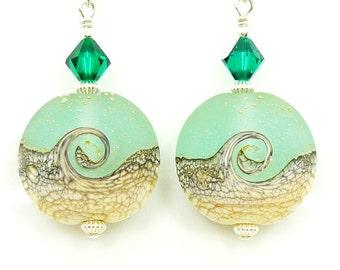 Green Ivory Earrings, Wave Earrings, Lampwork Earrings, Beach Earrings, Glass Earrings, Beach Jewelry, Ocean Earrings, Beadwork Earrings