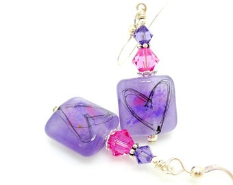 Purple Pink Heart Earrings, Lampwork Earrings, Heart Earrings, Lampwork Glass Earrings, Glass Bead Earrings, Lampwork Bead Earrings