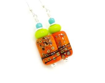 Orange Earrings, Lampwork Earrings, Glass Earrings, Glass Bead Earrings, Beadwork Earrings, Abstract Earrings, Southwestern Earrings
