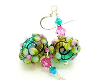 Pink Teal Earrings, Colorful Earrings, Hollow Earrings, Blown Glass Earrings, Lampwork Earrings, Glass Bead Earrings, Unique Earrings