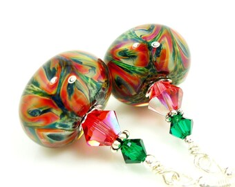 Pink Green Glass Earrings, Lampwork Earrings, Boro Glass Earrings, Glass Bead Earrings