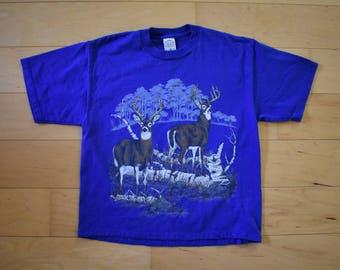 Cerf bleu Vintage Tshirt Vintage Animal Tee T-Shirt unisexe adulte moyen