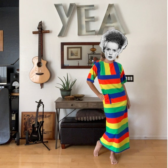 Vintage Rainbow Stripe Terrycloth Full Length Dres