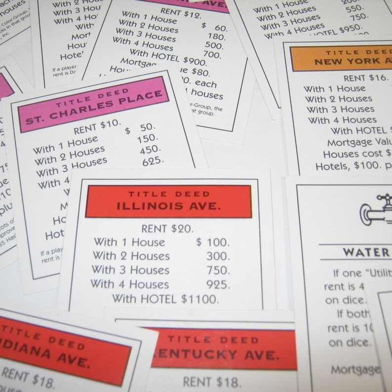 image about Monopoly Property Cards Printable referred to as 13 Paper Monopoly Household Playing cards/Deeds for substitute, artwork media, marriage, recreation decoration, sbook materials, video game space, topic get together