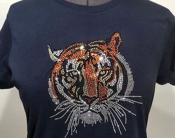 7bab3539924f Tiger Rhinestone Shirt Tiger Bling Shirt Ladies Bling Shirt Short Sleeve  Sparkling Tee