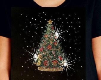 e8583e72 Womens Plus Size Premium LAT Brand Rhinestone Tee Christmas Tree Short  Sleeve