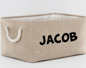 Personalized Storage Basket Room Accessory With Name Or Other Word Linen Basket For Storage Rope Handles Six Basket Color Choices