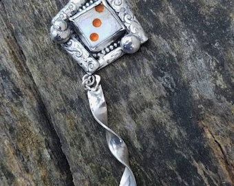 It's all fun and games pendant die dice orange 3 rustic unique necklace sterling silver