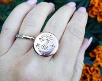 Copper locket ring
