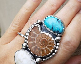 Ammonite Turquoise and Angel White ring sterling silver shell blue wide band size 8.5