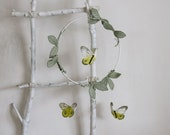 Yellow Butterfly Mobile in Green Vines and Silver Leather - Nursery Decor for Baby