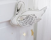 Swan Mobile in White and Luxe Metallic Leather - Nursery Decor for Baby
