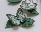 Ice Blue Butterfly + Leaf Hair Clips