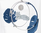 Tiger in the Jungle Luxe Mobile in Indigo and Silver - Nursery Decor for Baby