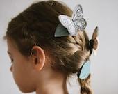 Silver Moth + Leaf Hair Clips
