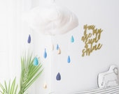 Indigo and Gold Metallic Rain Cloud in Luxe Linen and Felt - for baby nursery decor - Free US Shipping