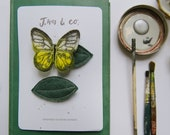 Yellow Clouded Butterfly + Leaf Hair Clips