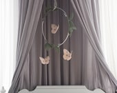 Pink Butterfly Mobile in Green Vines and Metallic Silver Leather - Nursery Decor for Baby