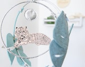 Tiger in the Jungle Luxe Mobile in Peach and Silver - Nursery Decor for Baby