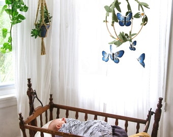 Butterfly Garden Mobile in Green, Gold and Indigo - Nursery Decor for Baby