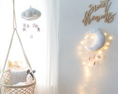 Luxe Rose Gold Star Cloud Mobile in Metallic Leather and Linen - Nursery Decor